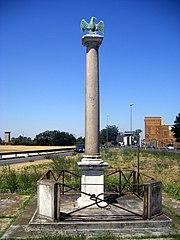 A five feet high column with an eagle on top