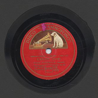 La voce del padrone - Image of a 78rpm of an aria from Giuseppe Verdi's Ernani, recorded by Grammofono/La voce del padrone