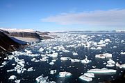 Icebergs breaking off glaciers at Cape York, Greenland