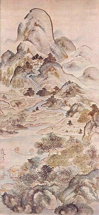 Nanga (Japanese painting) - Fishing in Spring by Ike no Taiga