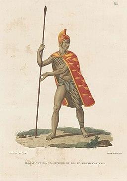 Iles Sandwich, un officier du roi en grand costume, dessine par S. Leroy d'apres Js. Arago; grave par Lerouge et Forget