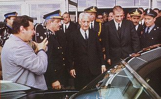 Arturo Umberto Illia - Pres. Illia receives the new President of Chile, Eduardo Frei (3rd from right), in 1965, at Ezeiza Int'l. Airport, whose capacity his administration nearly doubled.