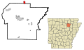 Independence County Arkansas Incorporated and Unincorporated areas Cave City Highlighted.svg