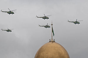 Turkmen Air Force - Mi-8s fly near the presidential palace