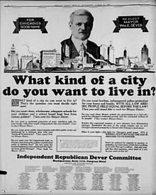 "An image of Dever atop the skyline of Chicago accompanied by the question ""What kind of a city do you want to live in?"" and paragraphs of text."