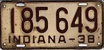Indiana 1938 license plate - Number 185 649.jpg