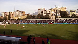 Selman Stërmasi Stadium - Selman Stërmasi Stadium in its ingaural match