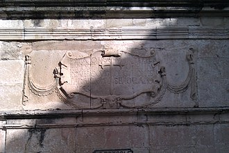 La Guardia de Jaén - Inscription of the renaissance Fountain of Isabel II Square, s. XVI