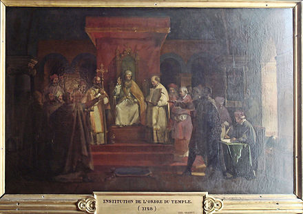 Pope Honorius II granting official recognition to the Knights Templar in 1128 Institution de l Ordre du Temple 1128 par Granet.jpg