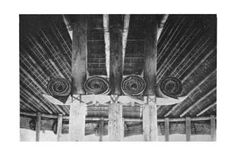Architecture of Samoa - interior fale tele with central pillars and curved rafters