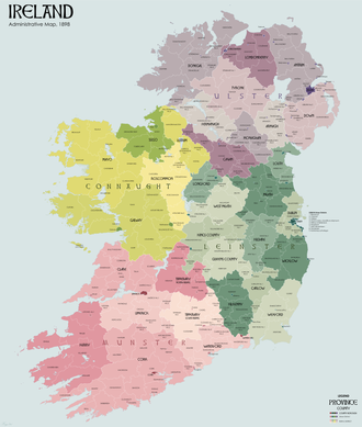 Local Government (Ireland) Act 1898 - Map of counties and county districts (urban and rural) after 1899.