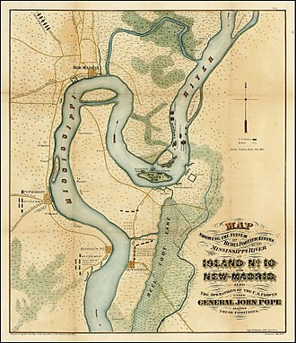 Battle of Island Number Ten - Battle map of Island No.10Rebel Fortifications on the Mississippi River on island; New Madrid; Operations of U.S. Forces Under General Pope against Rebel positions
