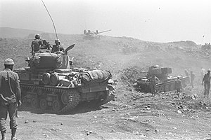 Israeli tanks advancing on the Golan Heights. June 1967. D327-098.jpg