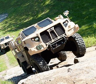 Oshkosh TAK-4 Independent Suspension System - The latest TAK-4i intelligent independent suspension system has been fitted to Oshkosh's L-ATV, this selected to meet the US Army and Marines JLTV requirement.