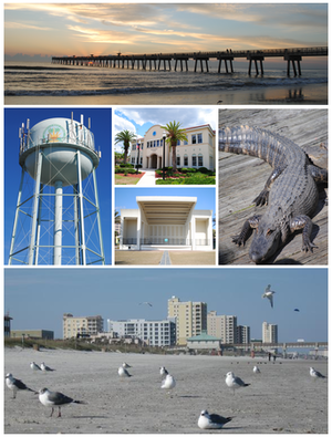 Jacksonville Beach, Florida - Images from top, left to right: Jacksonville Beach Pier, water tower, Jacksonville Beach City Hall, Sea Walk Pavilion, Adventure Landing, Jacksonville Beach