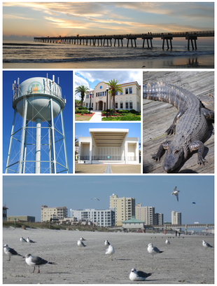 """Images from top, left to right: Jacksonville Beach Pier, water tower, Jacksonville Beach City Hall, Sea Walk Pavilion, <a href=""""http://search.lycos.com/web/?_z=0&q=%22Adventure%20Landing%22"""">Adventure Landing</a>, <a href=""""http://search.lycos.com/web/?_z=0&q=%22Freebird%20Live%22"""">Freebird Live</a>, Jacksonville Beach"""
