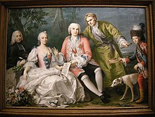 Metastasio, Teresa Castellini, Farinelli, Jacopo Amigoni; Gemälde von Jacopo Amigoni etwa 1750–1752 (Quelle: Wikimedia)
