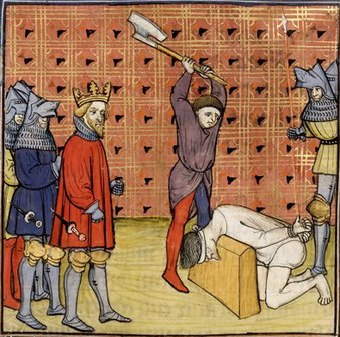Execution of some of the ringleaders of the jacquerie, from a 14th-century manuscript of the Chroniques de France ou de St Denis Jacquerie Navarre.jpg
