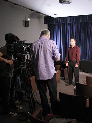 James Underdown - James Underdown being interviewed during a shoot for Discovery Channel's Weird or What? Mind Control War August 2010.