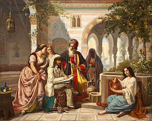 Jan-Baptist Huysmans - The artist sketching in a courtyard in Damascus