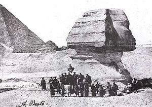 Second Japanese Embassy to Europe (1863) - Members of the Ikeda Mission in front of the Sphinx, 1864.