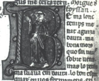 Jofre de Foixà - Jofre, portrayed as a monk in this miniature introducing his song Be m'a lonc temps