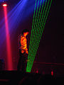 Jean Michel Jarre playing a laser harp 2, 2009-05-12.JPG