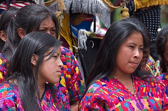 Maya peoples - Young Mayan women in traditional dress, Antigua, Sacatepéquez Department, Guatemala