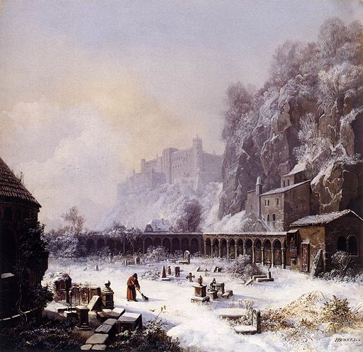 Johann Heinrich Bürkel - Graveyard of St. Peter's in Winter - WGA03729