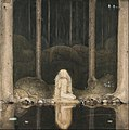John Bauer - Princess Tuvstarr gazing down into the dark waters of the forest tarn. - Google Art Project.jpg