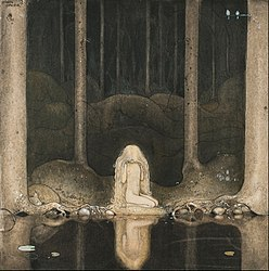 John Bauer: Princess Tuvstarr gazing down into the dark waters of the forest tarn.