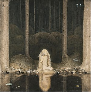 "Among Gnomes and Trolls - Ännu sitter Tuvstarr kvar och ser ner i vattnet. (""Still, Tuvstarr sits and gazes down into the water."") One of the most noted pictures by John Bauer from Among Gnomes and Trolls, 1913."