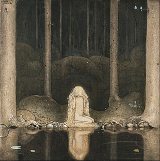 """Among Gnomes and Trolls - Ännu sitter Tuvstarr kvar och ser ner i vattnet. (""""Still, Tuvstarr sits and gazes down into the water."""") One of the most noted pictures by John Bauer from Among Gnomes and Trolls, 1913."""
