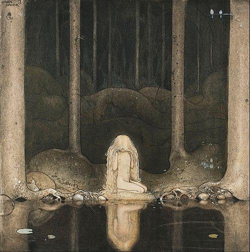 File:John Bauer - Princess Tuvstarr gazing down into the dark waters of the forest tarn. - Google Art Project.jpg