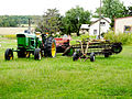 John Deere 4020, New Holland Discbine 411, side delivery rake.jpg