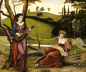 The Earthly Paradise - The Gentle Music of a Bygone Day, John Roddam Spencer Stanhope, 1873, National Trust, Wightwick Manor