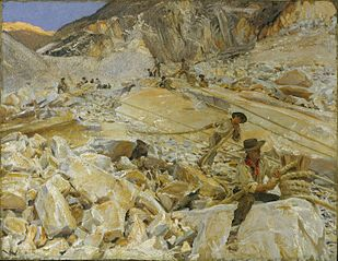 Bringing Down Marble from the Quarries to Carrara