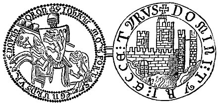 """TYRUS DOMINI TYRI ACCA"" -The seal of John of Montfort depicting Tyre's fortifications (right) John of Montfort.jpg"