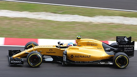 Renault returned to the sport in 2016 (pictured with Palmer) Jolyon Palmer - Renault F1 RS16 (29463209074).jpg