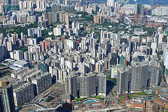 Jordan, Hong Kong - Aerial view of Jordan, with Austin Station in the lower part of the picture. The colorful building is Kwun Chung Municipal Services Building.