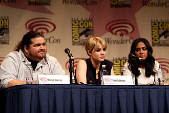 Jorge Garcia, Sarah Jones and Parminder Nagra at WonderCon 2012 in promotion of Alcatraz. Jorge Garcia, Sarah Jones & Parminder Nagra by Gage Skidmore.jpg