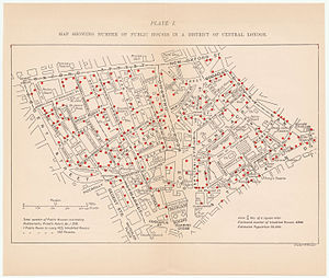 Pub - 1899 map showing number of public houses in a district of central London