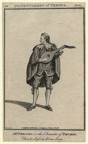 Joseph Vernon - Joseph Vernon, in character as Thurio in The Two Gentlemen of Verona, 1776 engraving