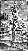 Crux simplex, a simple wooden stake. Image by Justus Lipsius.