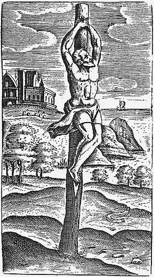 Instrument of Jesus' crucifixion - Crucifixion on a stake,  Illustration in Justus Lipsius' De cruce 1595