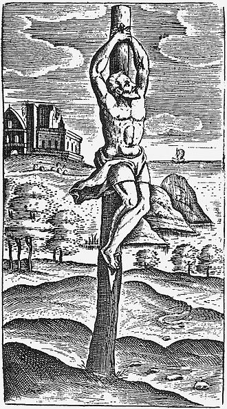 Crucifixion - Crux simplex, a simple wooden stake. Image by Justus Lipsius.