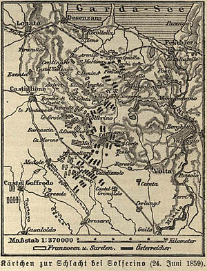 Battle of Solferino - Map of the battle (printed c.1888), in Meyers Lexikon, Vol.15, p.10-11.