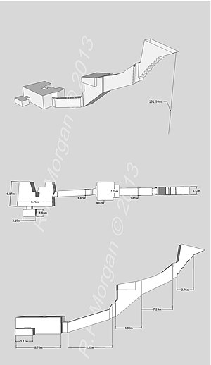 KV32 - Isometric, plan and elevation images of KV32 taken from a 3d model