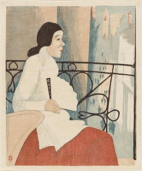 Colour print of a seated woman