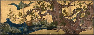 Kanō school - Eight-panel screen attributed to Kanō Eitoku of Cypress Trees, 1.7 x 4.61 metres